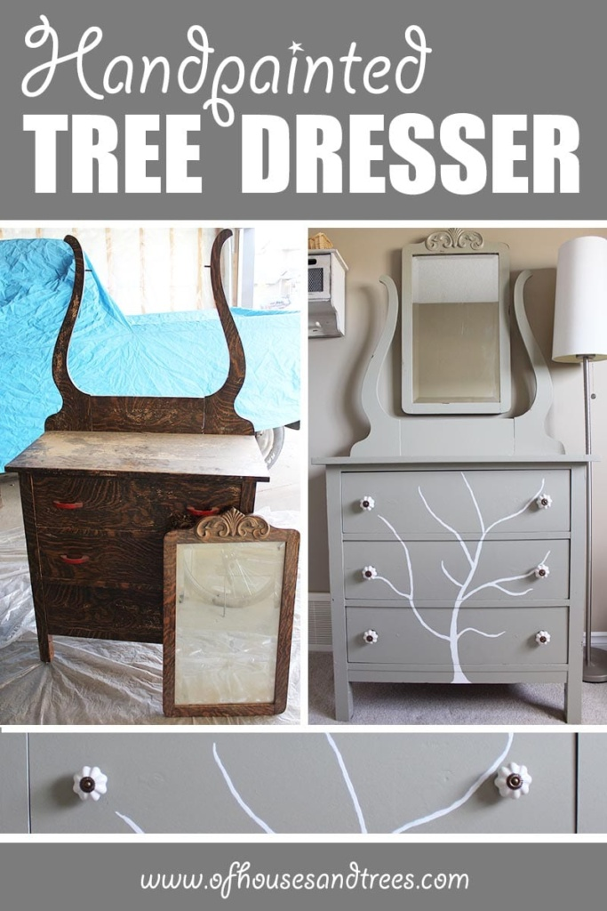 Handpainted Tree Dresser   Before and after of a DIY furniture refinishing project featuring a dresser with a handpainted tree.