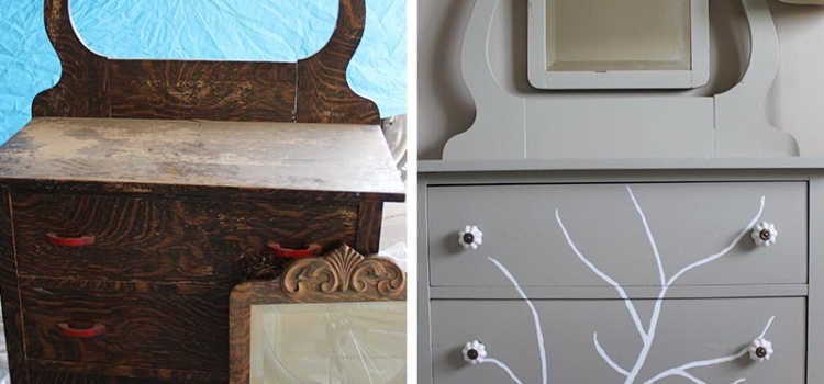 Before and after of a DIY furniture refinishing project featuring a dresser with a handpainted tree.
