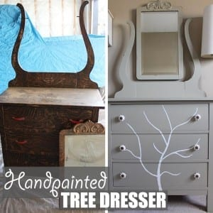 Handpainted Tree Dresser by Of Houses and Trees   Before and after of a DIY furniture refinishing project featuring a dresser with a handpainted tree.