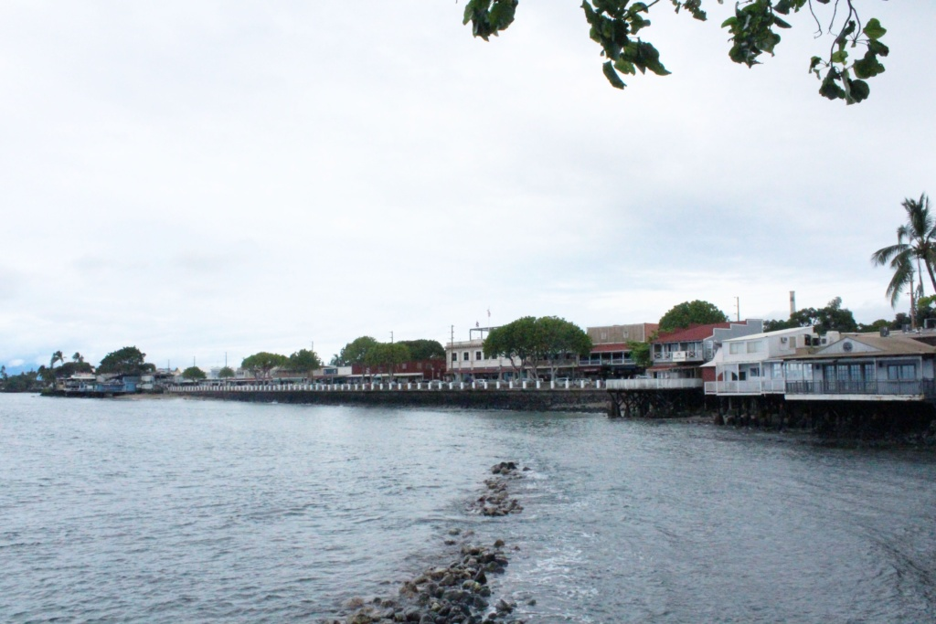 On the boardwalk of Lahaina during our Maui family vacation.