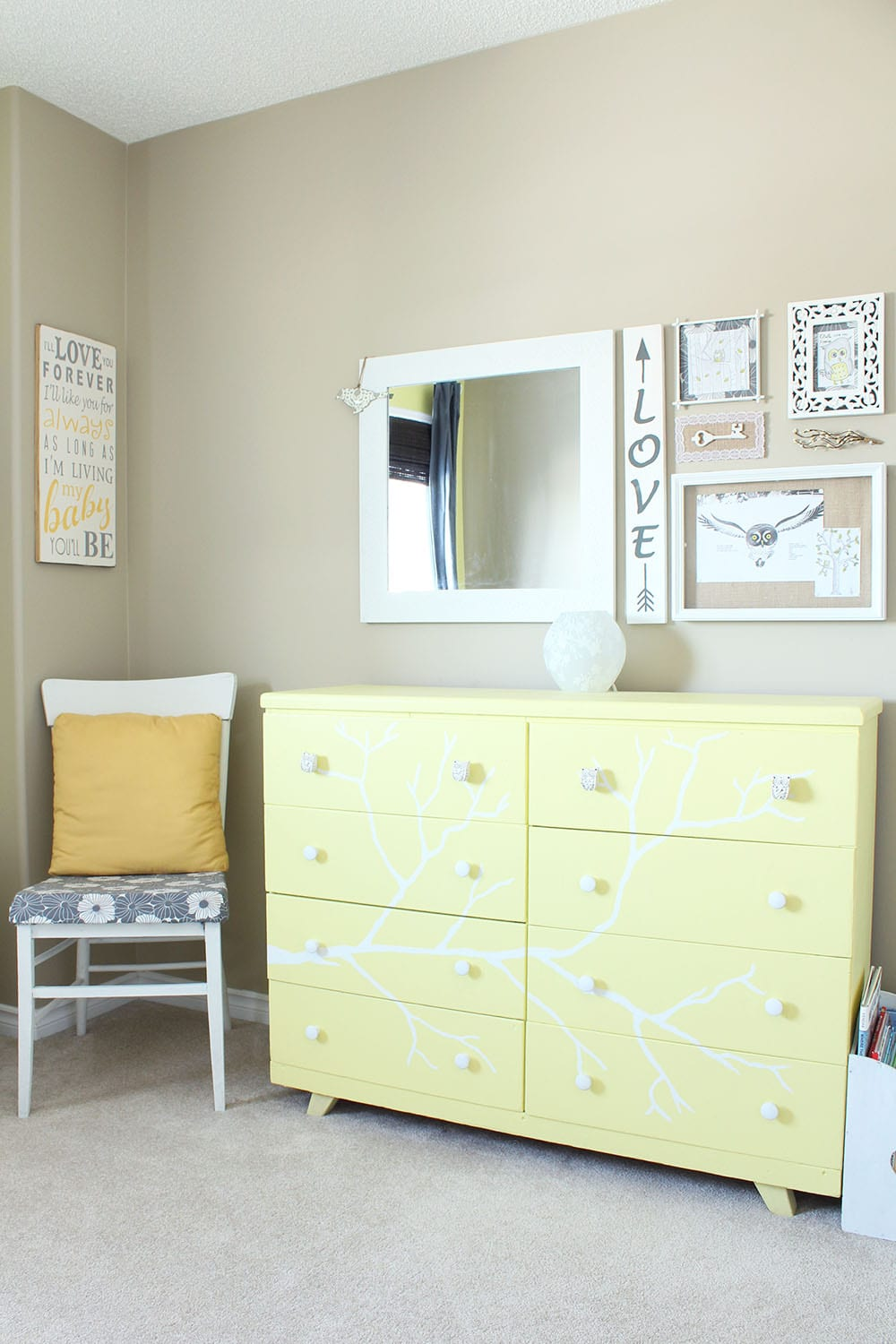 Yellow Toddler Bedroom   Welcome to our yellow toddler bedroom. Featuring grey and white accents and an owl motif. This room is a super happy fun place for a cute and quirky kid!