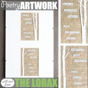 Poetry Art by Of Houses and Trees | Love literature as much as you love making creative things? Then this poetry art project - featuring a poem using text from The Lorax - is for you!