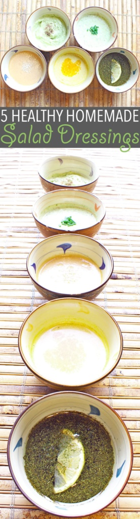 Healthy Homemade Salad Dressing   Healthy homemade salad dressing takes a bit of extra work, but the benefits are so worth it. Here are five of my favourites!