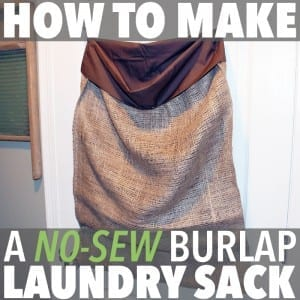 Here's an easy, cheap and fun way to make a no-sew DIY laundry bag. All you need is a pillowcase, a burlap sack, some sisal twine and a few safety pins!