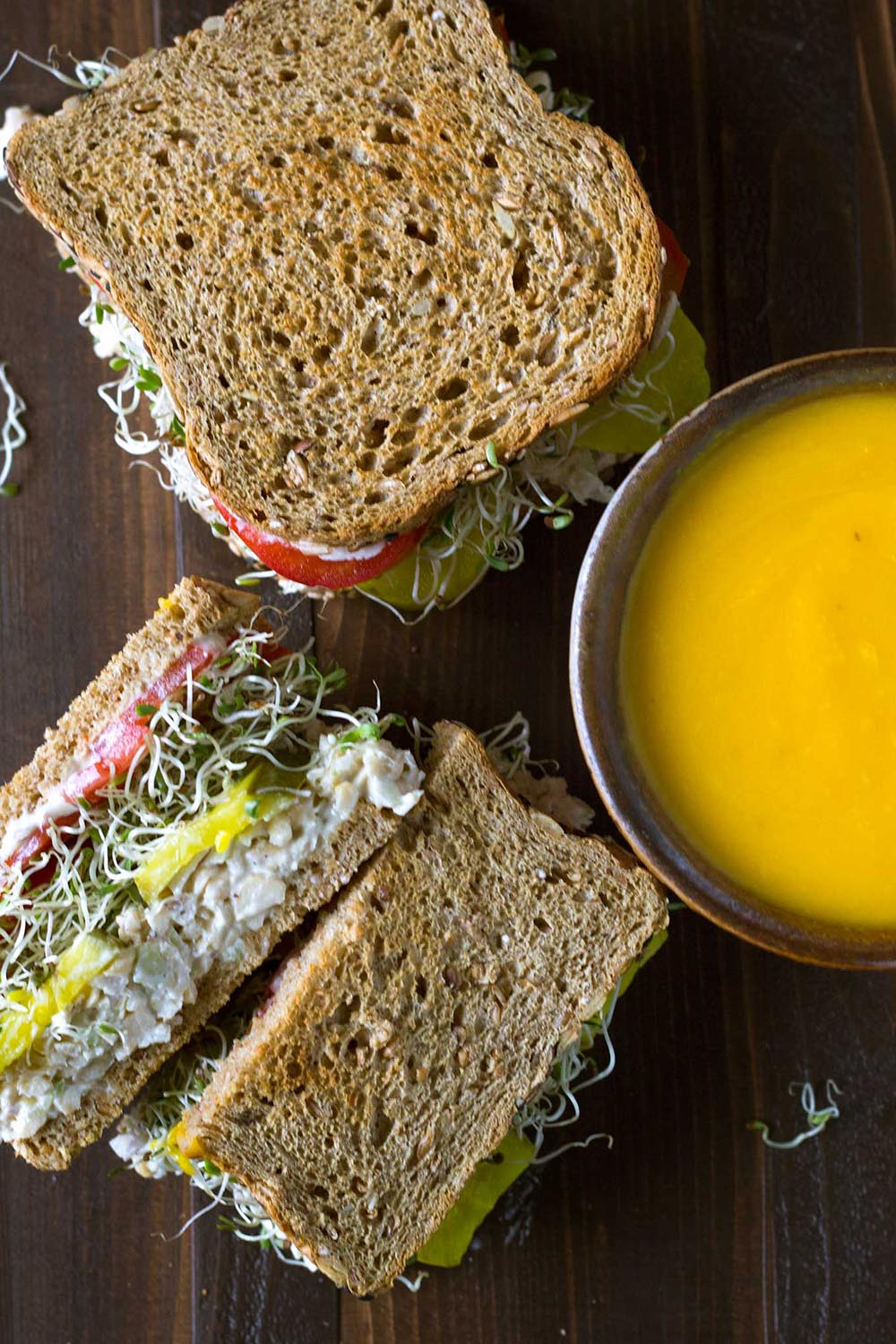 This tasty looking Chickpea Salad Sandwich from Pass the Plants is just one of many healthy, vegan lunch ideas - that both kids and adults will love!