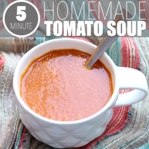 Looking for a basic tomato soup recipe? Well, here it is! Tomatoes, broth and... that's pretty much it. Plus, it takes less than 5 minutes to make!
