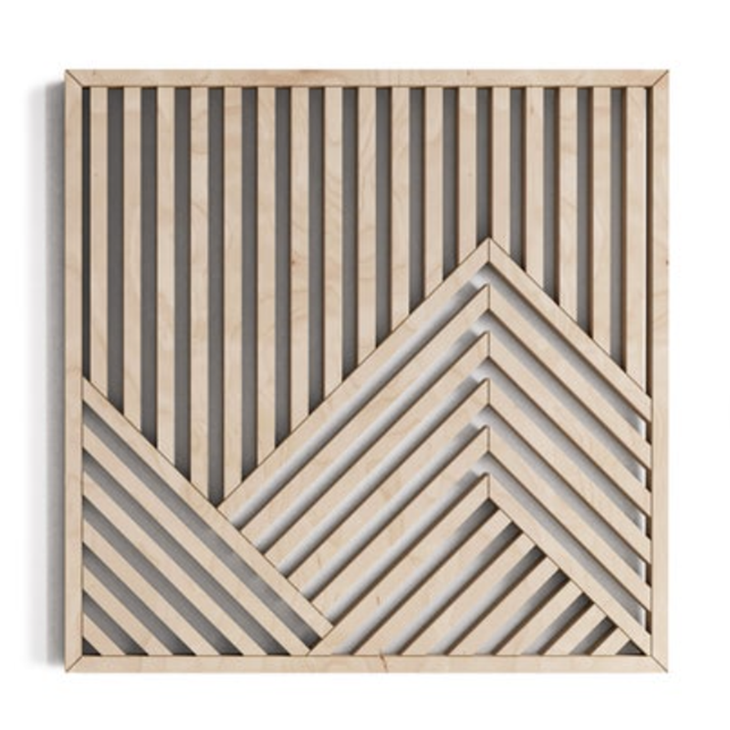 What is sustainable art and where exactly do you find it? Check out Etsy, where you'll find pieces like this geometric mountain wall art by OtherFurniture.