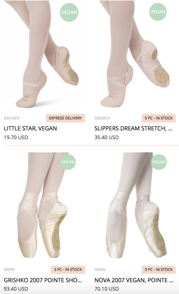 Wondering where to find vegan pointe shoes? Grishko makes it easy on their website by labelling all of their vegan shoes.