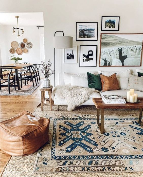 Here's how to create a modern boho living room, which balances the funky boho vibe with clean lines and neutral colours - like this one featured on West Elm.