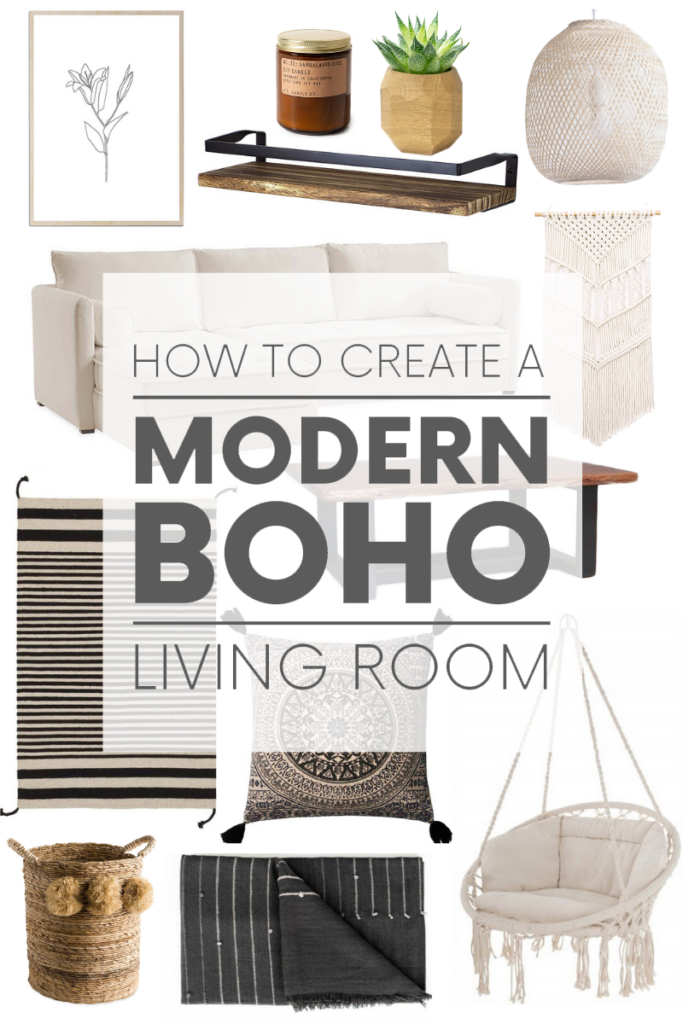 Here's how to create a modern boho living room, which balances the funky boho vibe with clean lines and neutral colours.