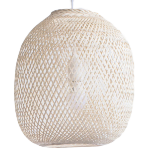 Here's how to create a modern boho living room, which balances the funky boho vibe with clean lines and neutral colours - and features beautiful decor like this bamboo light fixture.