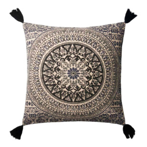 Here's how to create a modern boho living room, which balances the funky boho vibe with clean lines and neutral colours - and features beautiful decor like this patterned throw pillow.