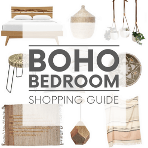 """Various bohemian interior design items - such as woven furniture and hanging planters, on a white background with the words """"boho bedroom shopping guide."""" Click to visit post."""