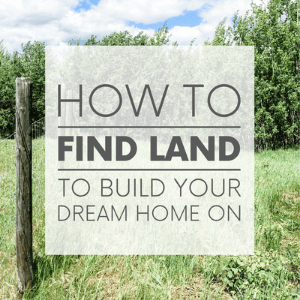 """A barbed wire fence on an acreage with trees with thee words """"how to find land to build your dream home on."""" Click to visit post."""