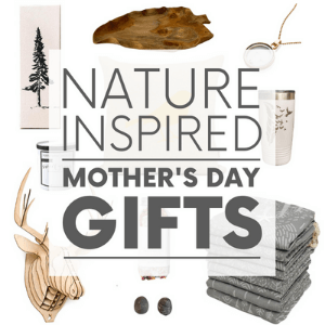 """Various gifts such as a wooden bowl and a necklace on a white background with the words """"nature inspired mother's day gifts."""" Click to visit post."""