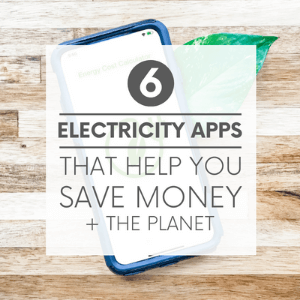 """A smart phone and a green leaf on a wooden background with the words """"6 electricity apps that help you save money + the planet."""" Click to visit post."""