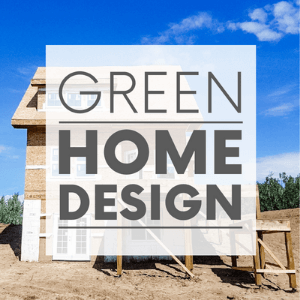"""An under construction house in front of a blue sky with the words """"green home design."""" Click to visit post."""