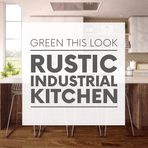 """White and wood kitchen with silver barstools and the words """"green this look - rustic industrial kitchen."""" Click to visit post."""