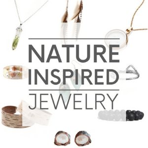 """Nine different pieces of jewelry - such as leaf earrings and a tree bark bracelet, with the words nature inspired jewelry."""" Click to visit post."""