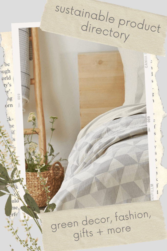 """A bedroom with wood toned furniture with the words """"sustainable product directory - green decor, fashion, gifts + more."""""""