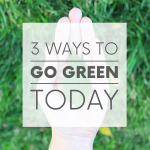 """A hand holding a leaf on a background of grass with the words """"3 ways to go green today."""" Click to visit post."""